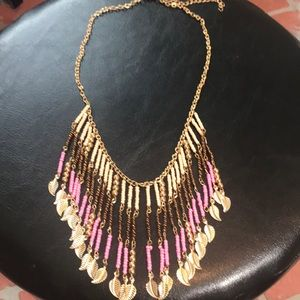 Boho tribal gold beaded feather statement necklace